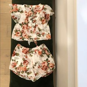 White and Pink Floral Two Piece Short Set